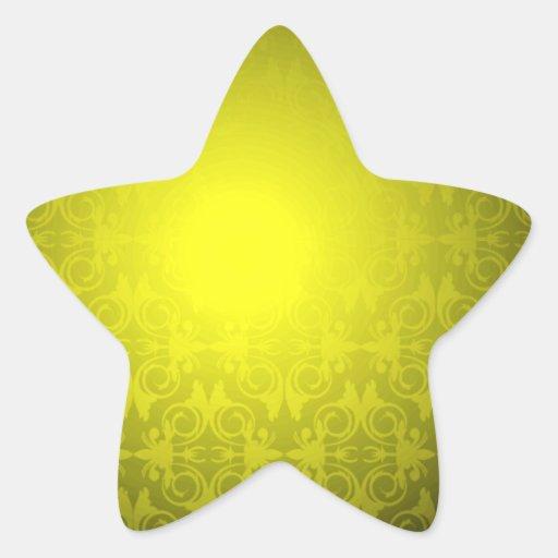 Elegant Yellow Damask Pattern Wedding gift Stickers