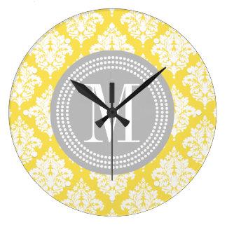 Elegant Yellow Damask Personalized Large Clock