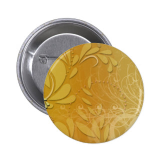 Elegant yellow floral and pink blossom pinback button
