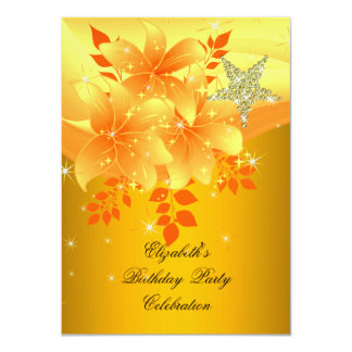 Elegant Yellow Floral Birthday Party Any Age 11 Cm X 16 Cm Invitation Card
