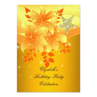 Elegant Yellow Floral Birthday Party Any Age 11 Cm X 16 Cm Invitation Card