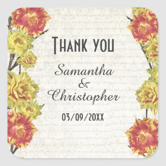 Elegant yellow floral country wedding thank you square sticker