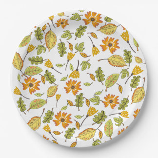 Elegant yellow floral party paper plate