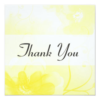 Elegant Yellow Flower Swirls Thank You Card / Note 13 Cm X 13 Cm Square Invitation Card