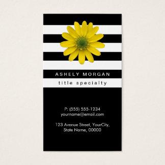 Elegant Yellow Gerbera Daisy - Black White Stripes
