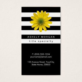 Elegant Yellow Gerbera Daisy - Black White Stripes Business Card