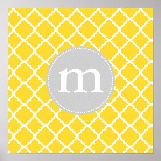 Elegant Yellow Moroccan Quatrefoil Personalised Poster