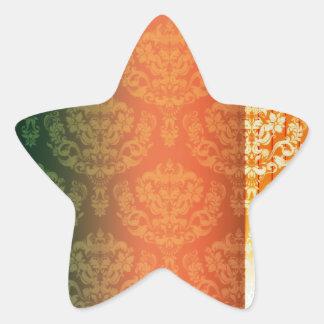 Elegant Yellow Orange Damask wedding gift Star Sticker