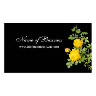 Elegant Yellow Rose Floral Professional Black Pack Of Standard Business Cards