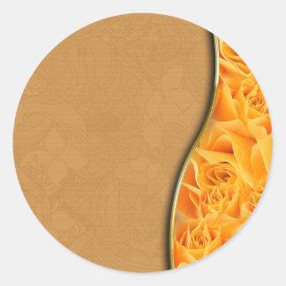 Elegant Yellow Rose valentine gift Round Stickers