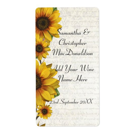 Elegant yellow sunflower country floral wine