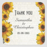 Elegant yellow sunflower country wedding thank you