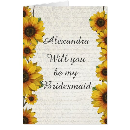 Elegant yellow sunflower will you be my bridesmaid