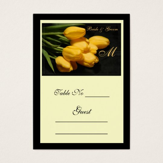 Elegant Yellow Tulip Wedding Table Place Card