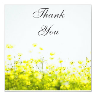 Elegant Yellow Wildflowers Thank You Card 13 Cm X 13 Cm Square Invitation Card