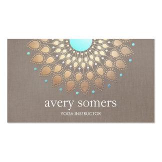 Elegant Yoga Gold Lotus Mandala Taupe Linen Pack Of Standard Business Cards