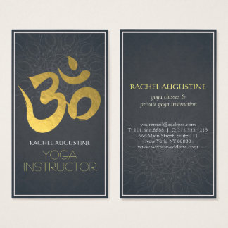 Elegant Yoga Instructor Gold Om Symbol and Mandala Business Card