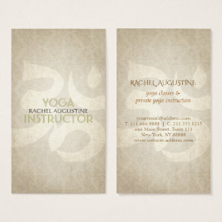 Elegant Yoga Instructor Om Symbol Grunge Floral Business Card