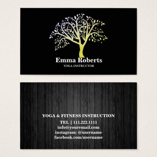 Elegant Yoga Instructor Rose Gold Tree Business Card