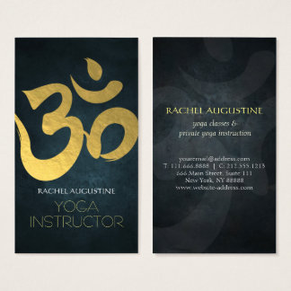 Elegant Yoga Instructor Studio Gold Foil Om Symbol Business Card