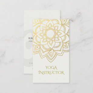 Yoga business cards business card printing zazzle uk elegant yoga instructor white gold floral mandala business card reheart Gallery