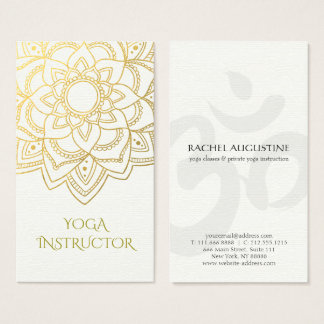 Elegant YOGA Instructor White Gold Floral Mandala Business Card