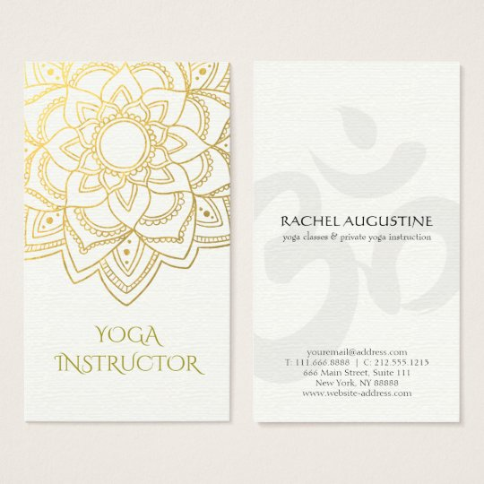 Elegant YOGA Instructor White Gold Floral Mandala Business