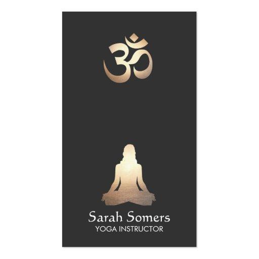 Elegant Yoga Meditation Pose Om Symbol Business Card