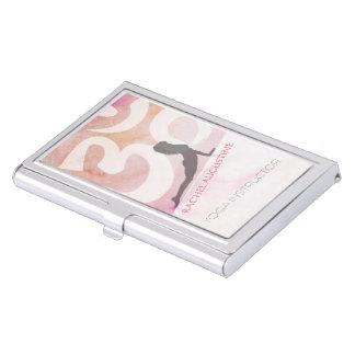 Elegant Yoga Meditation Pose Om Symbol Pink Grunge Business Card Holder