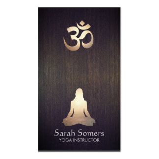 Elegant Yoga Meditation Pose Om Symbol Wood Look Pack Of Standard Business Cards