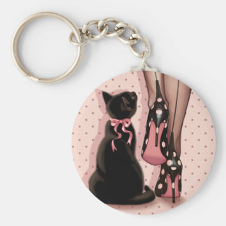 Elegant young woman and black cat basic round button key ring
