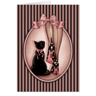 Elegant young woman and black cat card