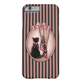 Elegant young woman and black cat barely there iPhone 6 case