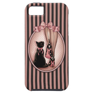 Elegant young woman and black cat tough iPhone 5 case