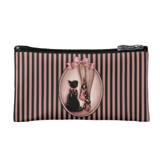 Elegant young woman and black cat cosmetic bag
