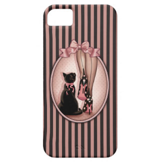 Elegant young woman and black cat iPhone 5 covers