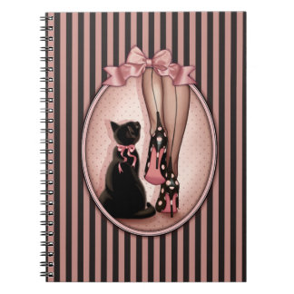 Elegant young woman and black cat notebook