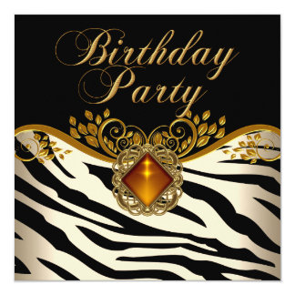 Elegant Zebra Caramel Amber Black Gold Birthday 13 Cm X 13 Cm Square Invitation Card