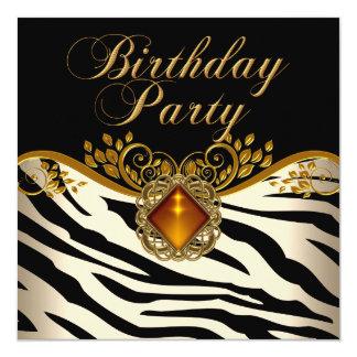"Elegant Zebra Caramel Amber Black Gold Birthday 5.25"" Square Invitation Card"