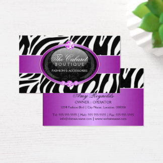 Elegant Zebra Fashion Jewelry Business Card