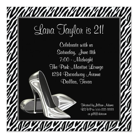 Elegant Zebra High Heel Birthday Party Card