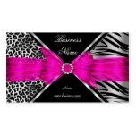 Elegant Zebra Leopard Black Hot pink 2 Pack Of Standard Business Cards