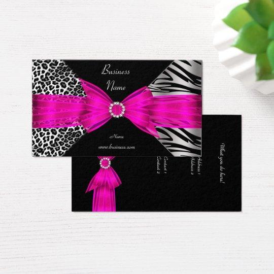Elegant Zebra Leopard Black Hot pink Business Card