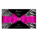 Elegant Zebra Leopard Black Hot pink Pack Of Standard Business Cards