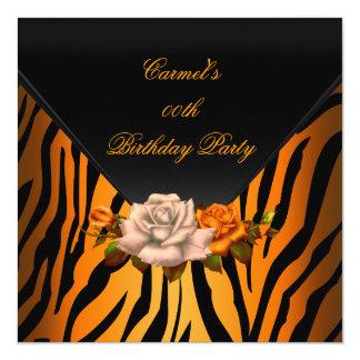 Elegant Zebra Orange Rose Black Birthday Party 5.25x5.25 Square Paper Invitation Card