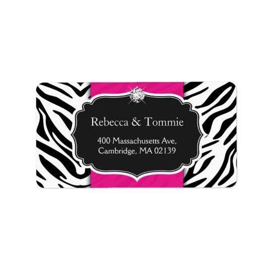 Elegant Zebra Print Hot Pink Wedding Baby Shower Address Label