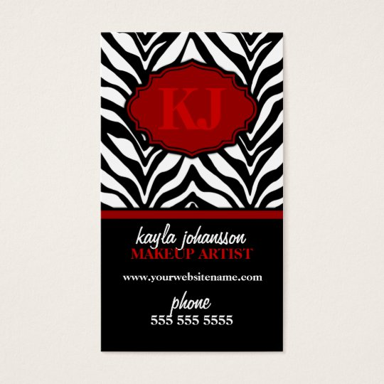 Elegant Zebra Print Monogram Business Cards