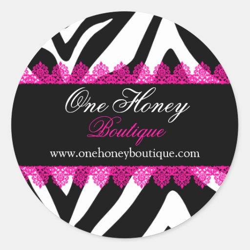 Elegant Zebra Print & Pink Lace Stickers