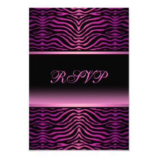 Elegant Zebra Print Quinceanera RSVP 9 Cm X 13 Cm Invitation Card