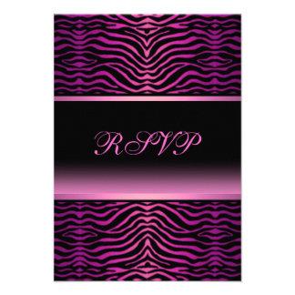 Elegant Zebra Print Quinceanera RSVP Announcement